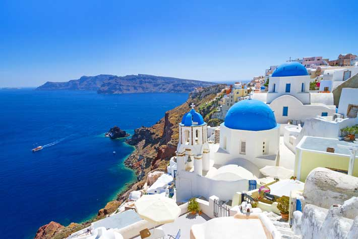 The village of Oia in Santorini Greece